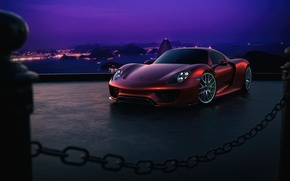 Picture Porsche, Red, Sky, Purple, Front, 918, Color, Supercar
