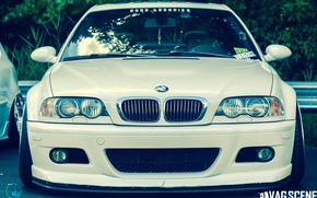 Picture BMW, BMW, white, tuning, stance, e46