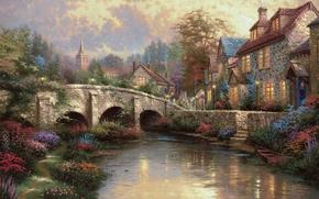 Wallpaper bridge, house, river, street, boat, home, painting, Thomas Kinkade, village, painting, England, Thomas Kinkade, countryside, ...