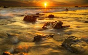Picture beach, the sun, algae, sunset, stones, CA, Malibu