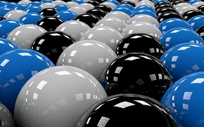 Picture balls, the ranks, black, white, blue