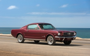 Picture road, sea, retro, Mustang, Ford, 1965
