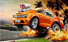Wallpaper chameleon, flame, Chevrolet