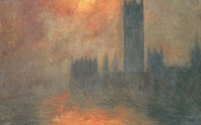 Wallpaper Claude Monet, picture, the urban landscape, The Houses Of Parliament. Dawn