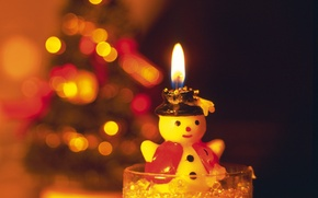 Picture new year, candle, snowman, light