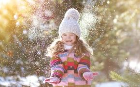 Picture winter, snow, joy, smile, hat, child, hands, jacket, girl, girl, beautiful, winter, snow, child