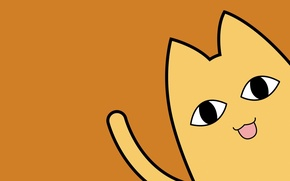Picture yellow, cat, ears, drawn