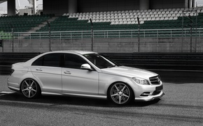 Picture road, silver, silver, Mercedes, track, Mercedes, track, C-Classe