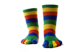 Picture color, strips, feet, socks, fingers, colorful, warm