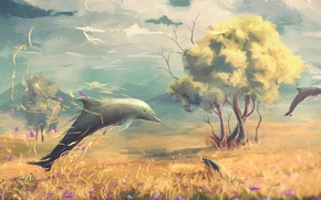 Picture field, flowers, fantasy, tree, art, dolphins