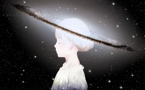 Wallpaper the sky, girl, space, stars, planet, head, anime, art, sawasawa