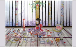 Picture flowers, room, Japanese, toys, the ball, cell, pencils, drawings, suitcase, kimono