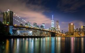 Picture night, bridge, New York, USA, USA, Brooklyn bridge, Manhattan, Brooklyn, Manhattan, NYC, New York City, …