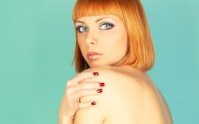 Wallpaper look, girl, face, background, haircut, back, hands, red hair, green eyes, bangs