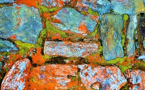 Picture stones, wall, paint, color, moss
