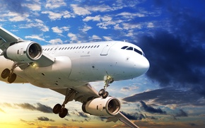 Picture the sky, clouds, flight, sunset, the plane, view, passenger, airliner