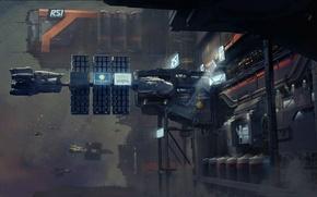 Wallpaper Star Citizen, station, ships, mechanisms, space