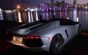 Picture water, the city, reflection, the evening, roadster, back, LP700-4, Lamborghini Aventador