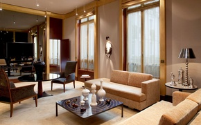 Wallpaper design, style, table, lamp, chairs, interior, room, the hotel, table, sofas