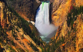 Picture trees, river, rocks, waterfall, stream, slope, USA, Yellowstone national Park
