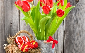 Picture eggs, red, flowers, tulips, tulips, Easter, eggs, basket, easter