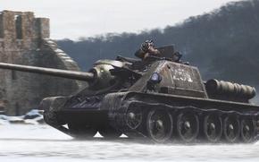 Picture tank, self-propelled gun, Su-85
