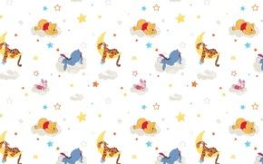Picture clouds, background, mood, the moon, sleep, cartoons, Piglet, Winnie The Pooh, the Tigrusha, Eeyore