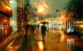 Picture winter, drops, rain, Saint Petersburg, December