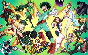 Picture girls, anime, guys, characters, Boku no Hero Academy, My hero Academy