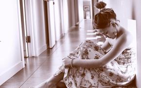 Picture sadness, dress, corridor, girl, monochrome photo