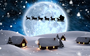Wallpaper Santa Claus, silhouettes, deer, New year, night, the moon, lights, snowflakes, trees, winter, snow, houses, ...