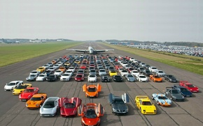 Picture road, the plane, supercars