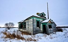 Wallpaper devastation, house, snow, winter