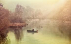 Picture fog, river, boat, fisherman
