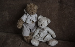 Picture background, mood, Wallpaper, toys, pair, bears, different, plush