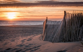 Picture sea, beach, landscape, sunset, the fence