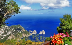 Picture sea, greens, the sky, trees, landscape, flowers, mountains, nature, the city, rocks, island, Italy, Italy, ...
