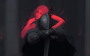 Picture Girl, Sword, Warrior, Art, Fiction