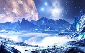 Picture water, space, stars, reflection, planet