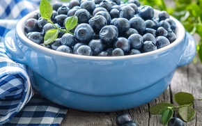 Picture blueberries, bowl, leaves, leaves, napkin, blueberries, bowl, fresh berries, napkin, fresh berries