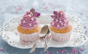 Picture sweets, flowers, cakes, dessert, sweet, cupcakes, spoon, pink, decoration, Anna Verdina, cream