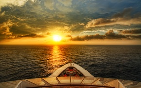 Picture sea, wave, the sky, water, the sun, sunset, nature, river, background, widescreen, Wallpaper, mood, boat, ...