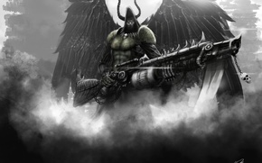 Picture weapons, hood, wings, art, male, flamethrower, angel of death, horns