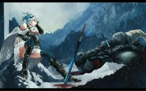 Picture snow, mountains, blood, dragon, Girl, sword, head, armor, warrior