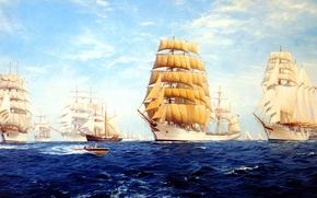Wallpaper ship, sailboat, sea, J. Steven Dews, wave, the sky, clouds, parade