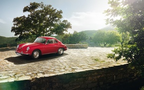 Picture the sky, trees, coupe, Porsche, Porsche, classic, Coupe, the front, 1963, 1600, 356C