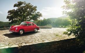Wallpaper Coupe, 1963, trees, Porsche, coupe, 356C, the front, Porsche, the sky, classic, 1600