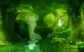 Picture trees, Park, stream, waterfall, Tale, Ghost, degree, gate.cvetochki