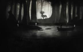 Picture night, river, boy, deer, art, Limbo
