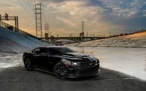 Picture bridge, black, Chevrolet, black, chevrolet, bridge, camaro ss, Camaro, power line